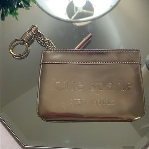 kate spade Bags - NWOT Kate Spade Gold leather pouch with key ring.